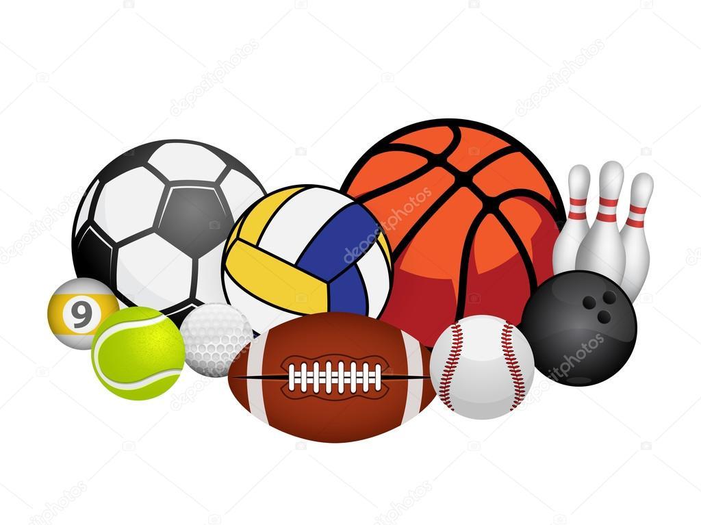 Vector Deportes Bolas Patrón De Fondo: Juego De Bolas De Deporte Aislado Sobre Fondo Blanco