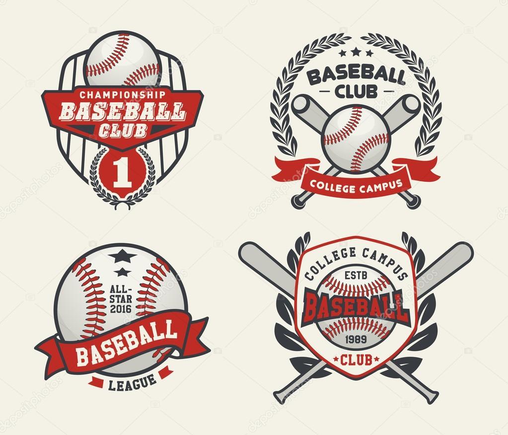 Satz von Sport Baseball Badge Logo-Vorlagen, Baseball-Vorlagen für ...