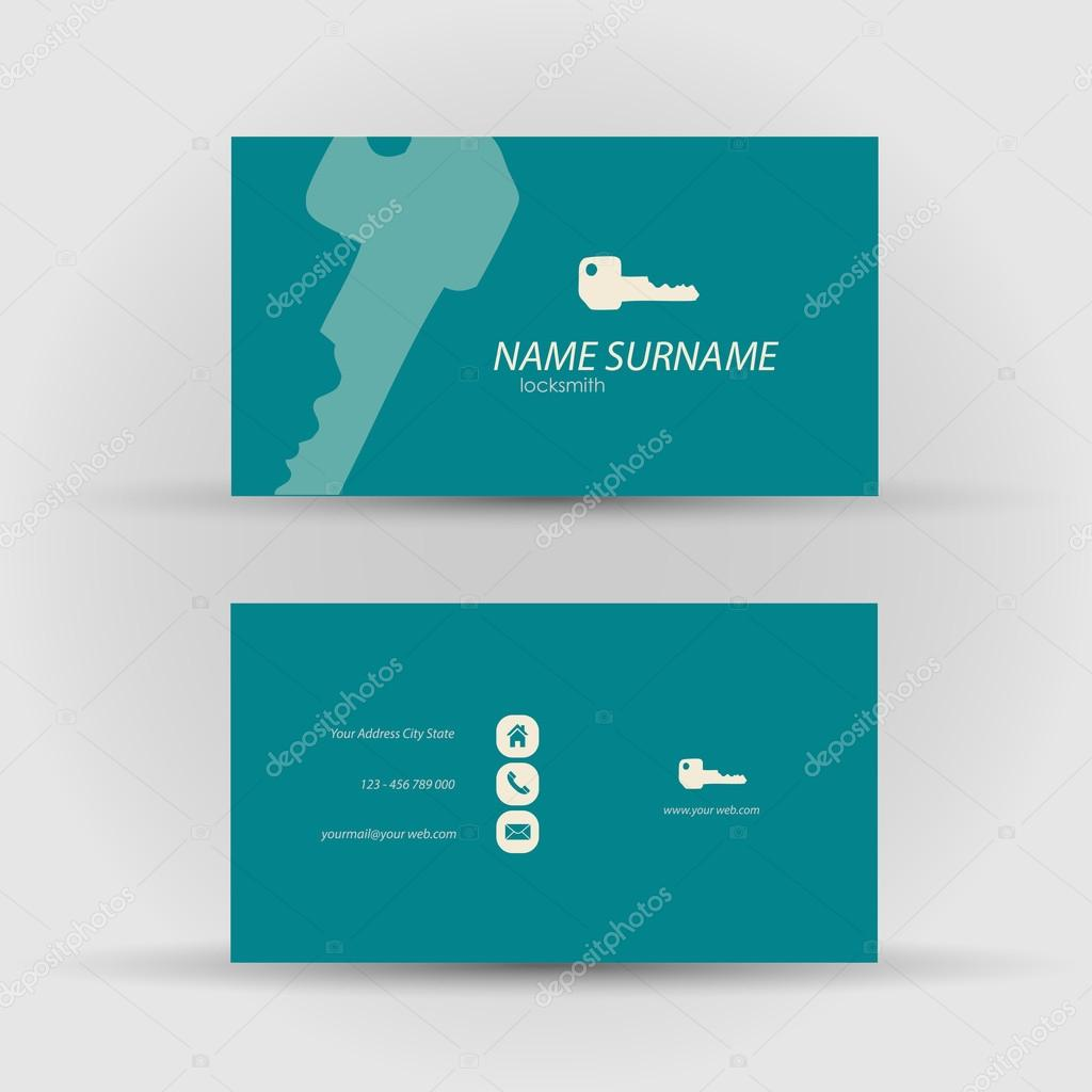 business card - locksmith — Stock Vector © michalsochor #54391861