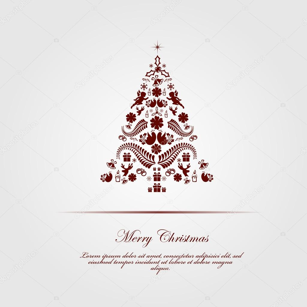 Vintage Christmas Card Beautiful Christmas Tree Illustration Vector Image By C Michalsochor Vector Stock 58303935