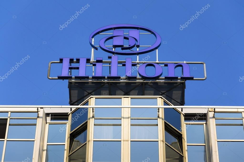 Hilton Hotels And Resorts Logo On The Building Of Prague Hotel O Stock Photo
