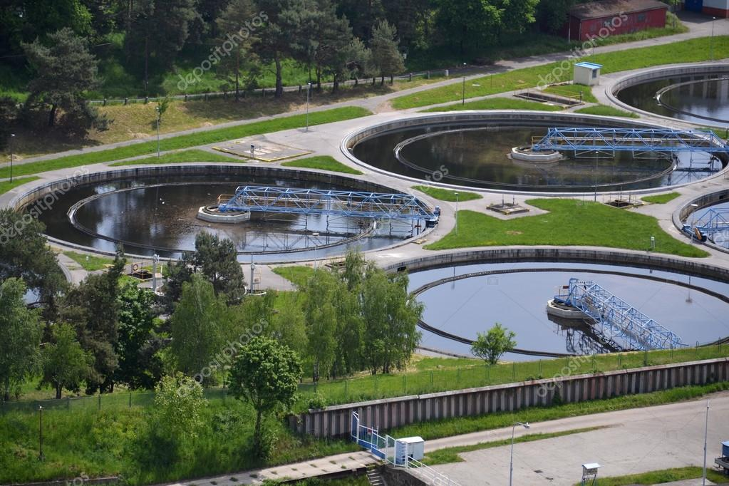 Aerial view of sewage water treatment plant