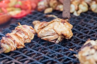 Pieces of grilled chicken