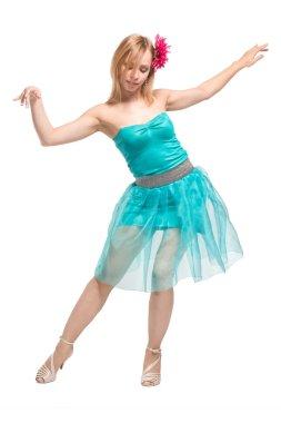 young blonde girl dancing
