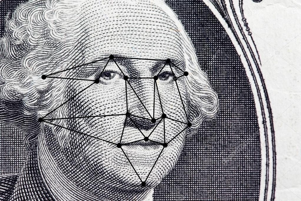 president's face with dollar bill