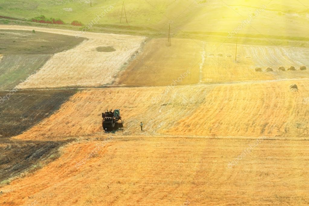 agricultural fields and farm machinery