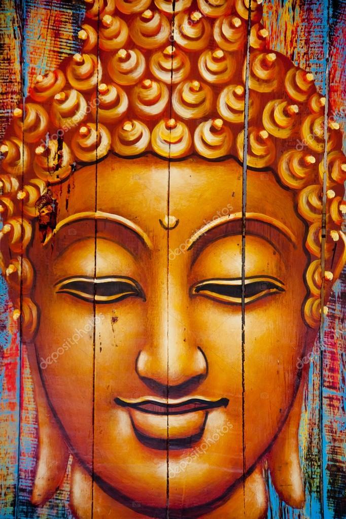 buddha gesicht auf holzbohlen gemalt stockfoto watman 66531595. Black Bedroom Furniture Sets. Home Design Ideas
