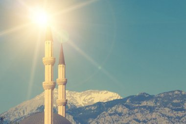 Picturesque view of two minarets
