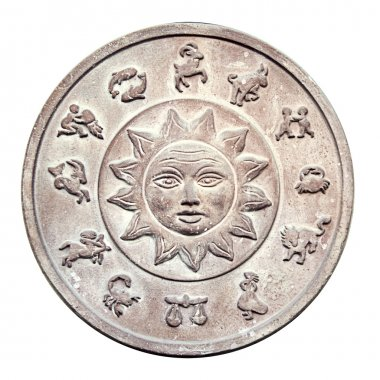 Ancient medallion with zodiac signs
