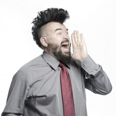 Office worker with mohawk hairstyle
