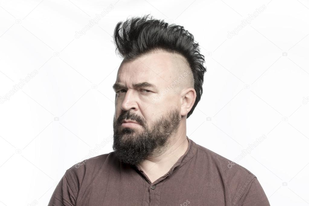 Mann Mit Mohawk Frisur Und Bart Stockfoto C Watman 89727898