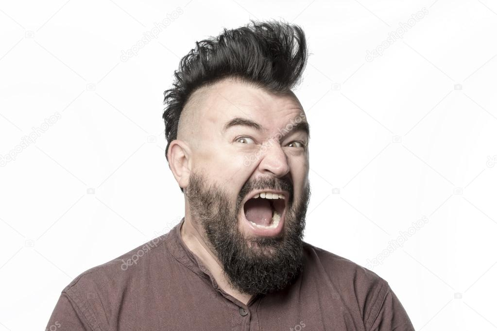 Angry screaming man with mohawk hairstyle — Stock Photo ...