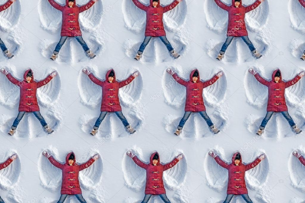 Pattern formed from girls on snow