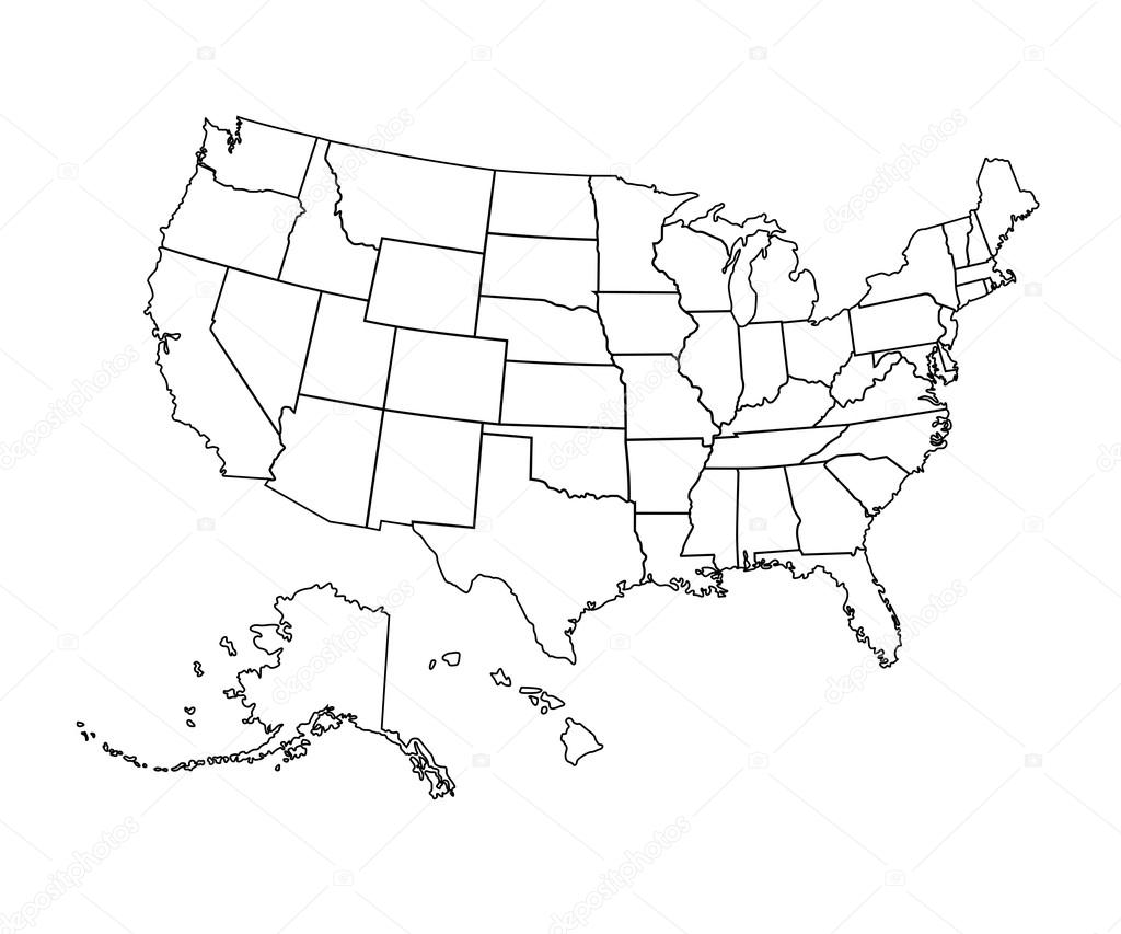 USA Map Vector Illustration Stock Vector Chekman - Usa map with hawaii and alaska