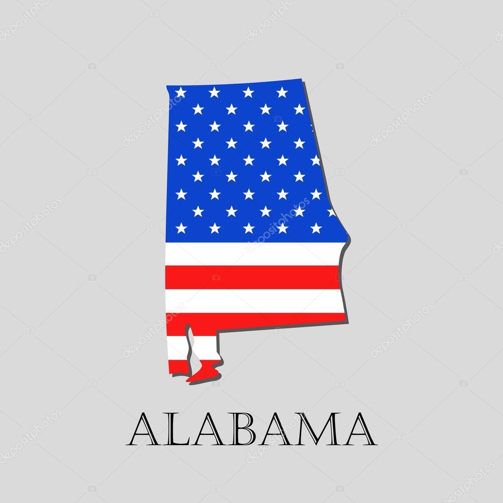 Landkarte der Bundesstaat Alabama im American Flag - Vektor ...