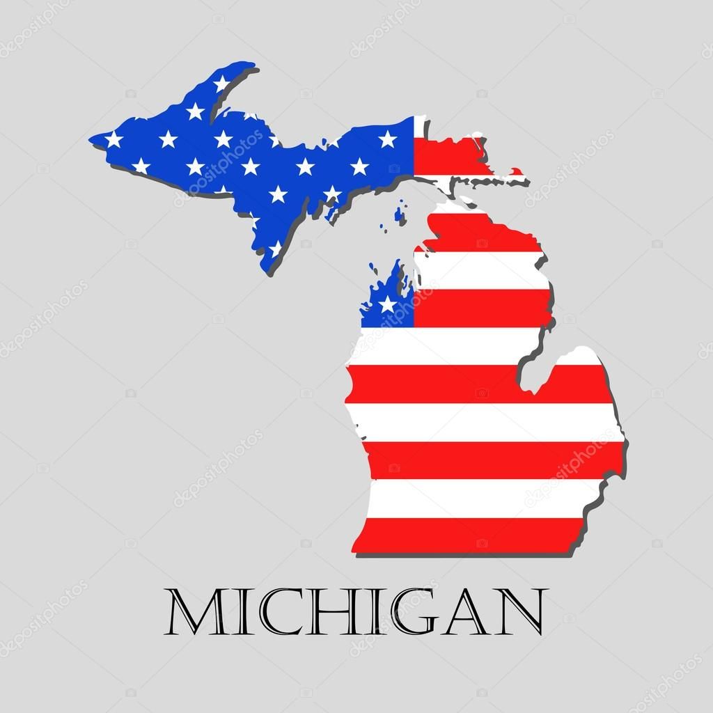 Map State of Michigan in American Flag - vector illustration ...