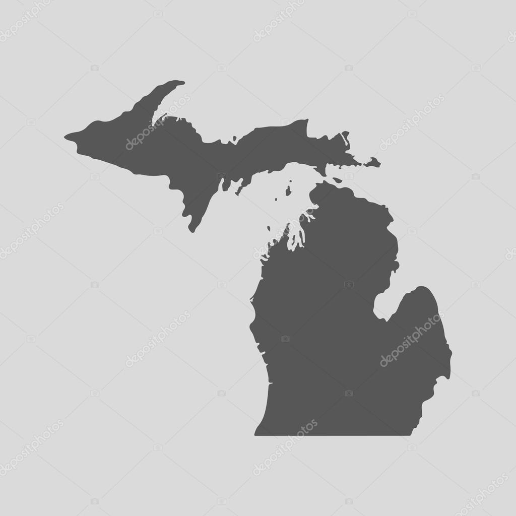 Black map state Michigan - vector illustration. — Stock Vector ...