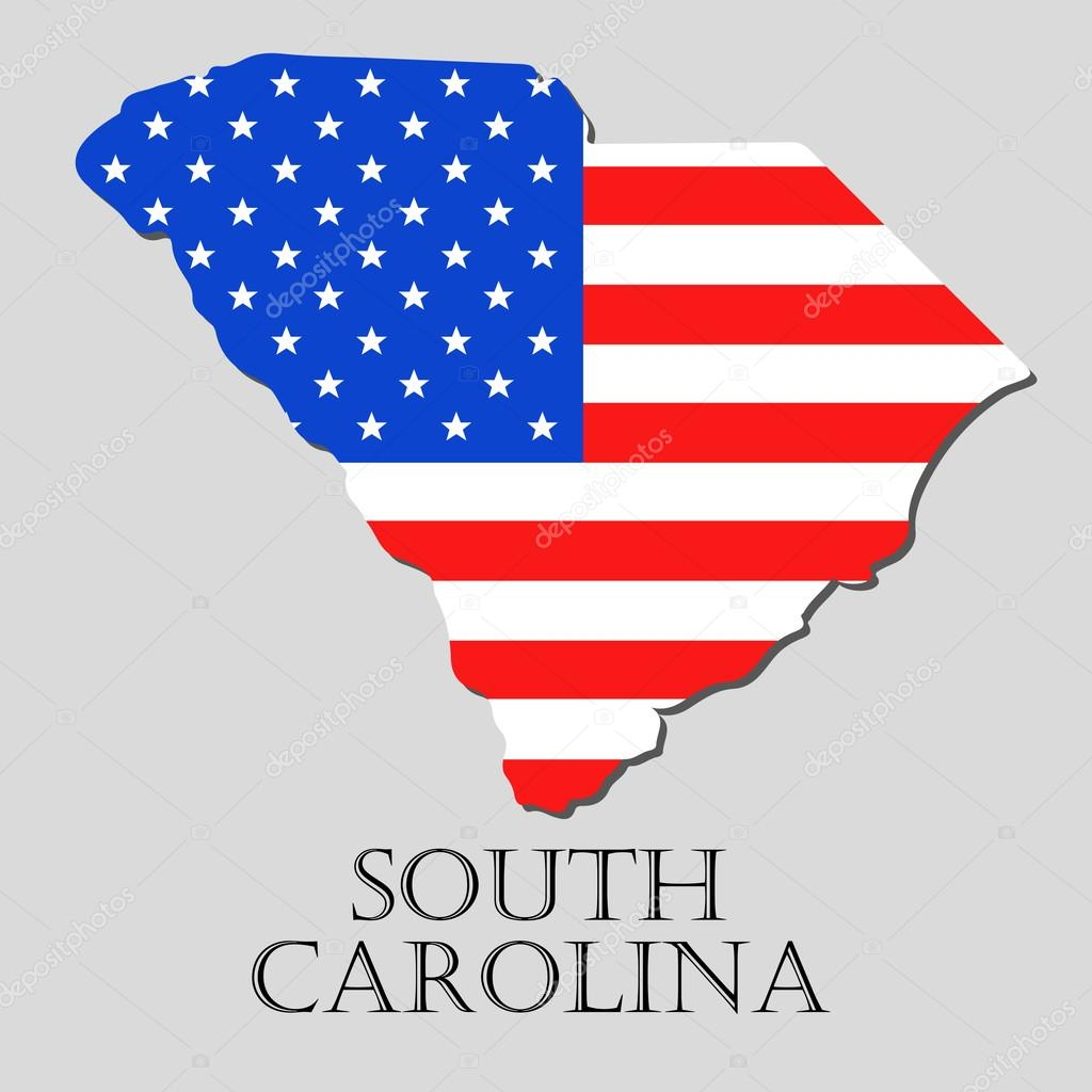 map state of south carolina in american flag vector illustration