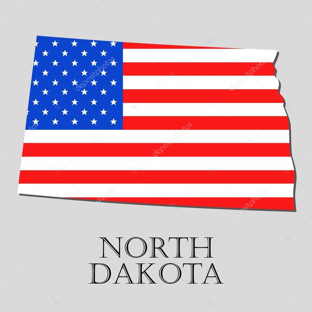 Map State of North Dakota in American Flag - vector ...