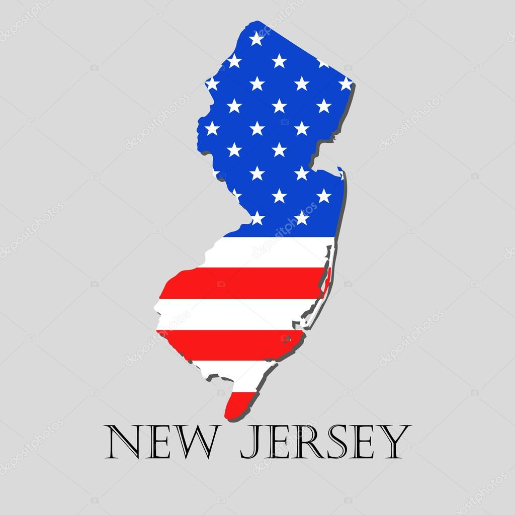 Map State of New Jersey in American Flag - vector illustration ...