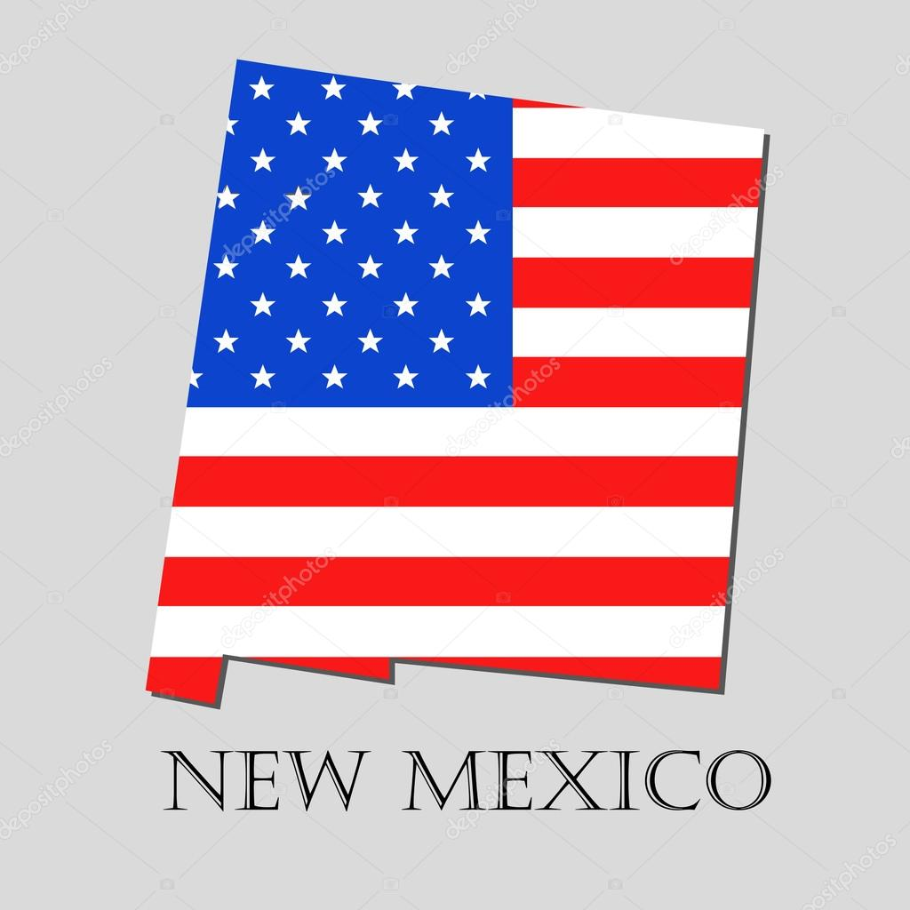 map state of new mexico in american flag vector illustration