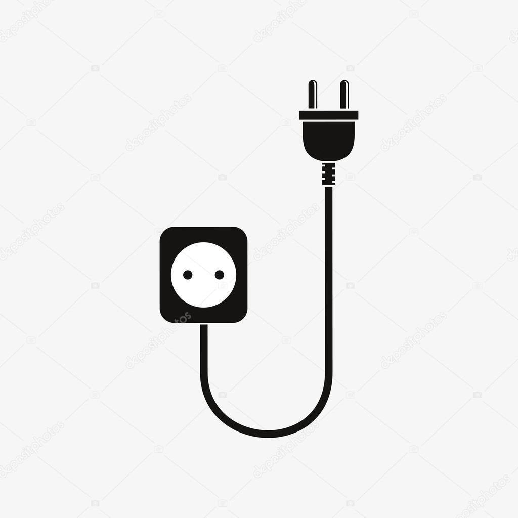 Wire plug and socket - vector illustration. — Stock Vector ...