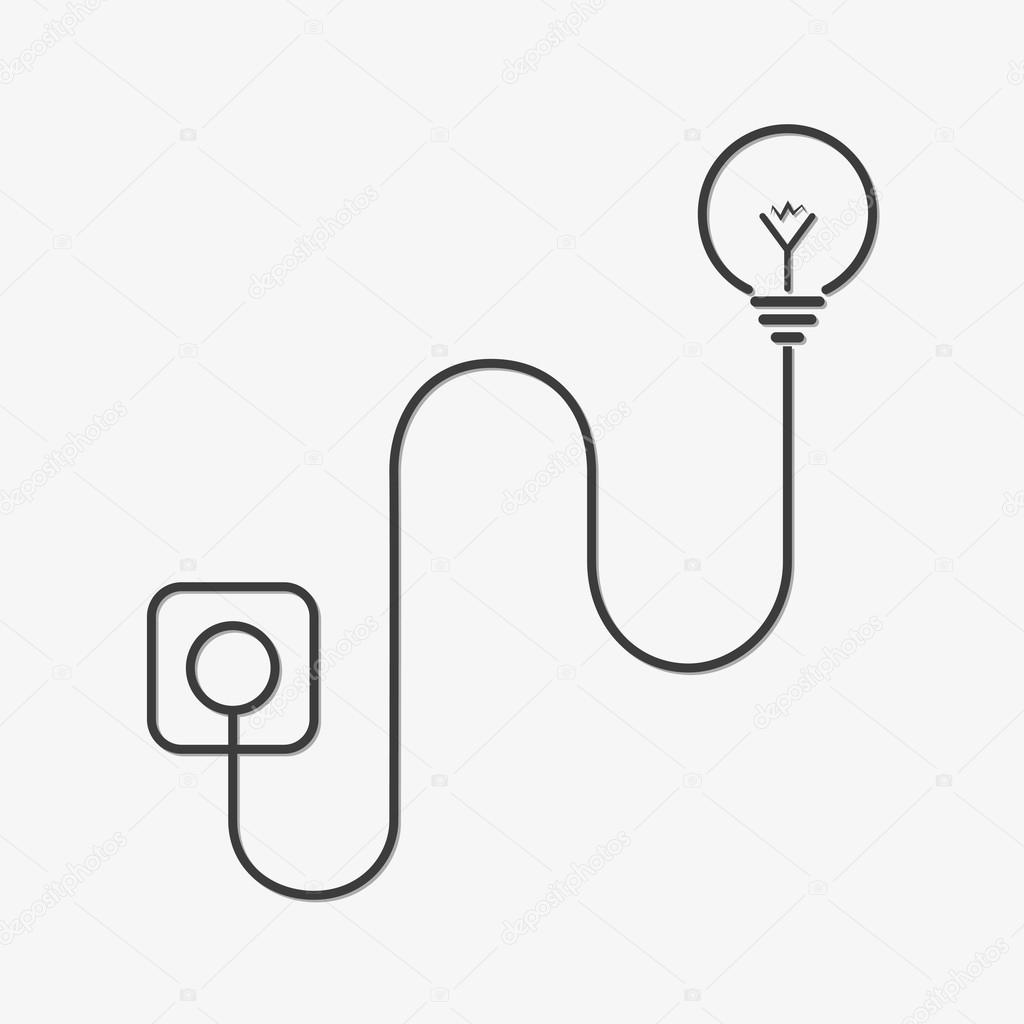 Light Bulb And Wire Plug Vector Illustration Stock Wiring A To Fixture