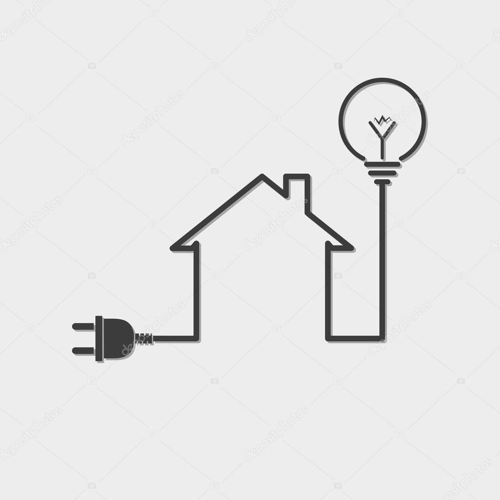black house with wire plug and light bulb