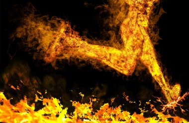 Fiery running man on a black background