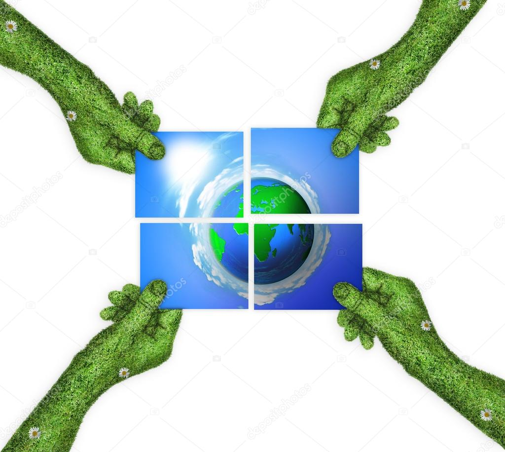Hand, ecology symbol planet earth