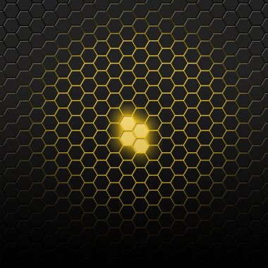 Yellow pattern with hexagons