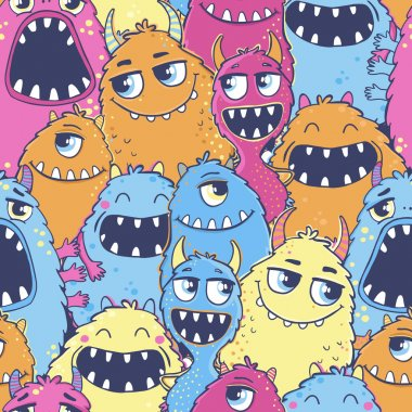 Pattern with cartoon monsters