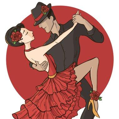 Flamenco couple dancers