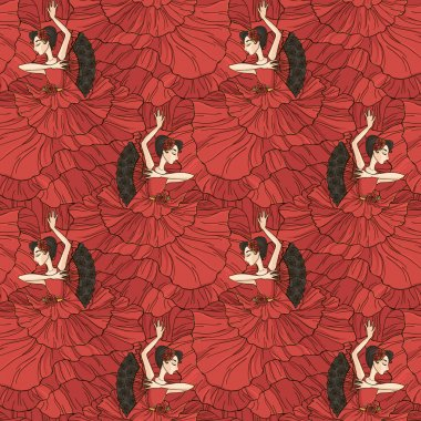 Pattern with flamenco dancer