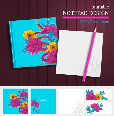 notepad design with snake and flowers.