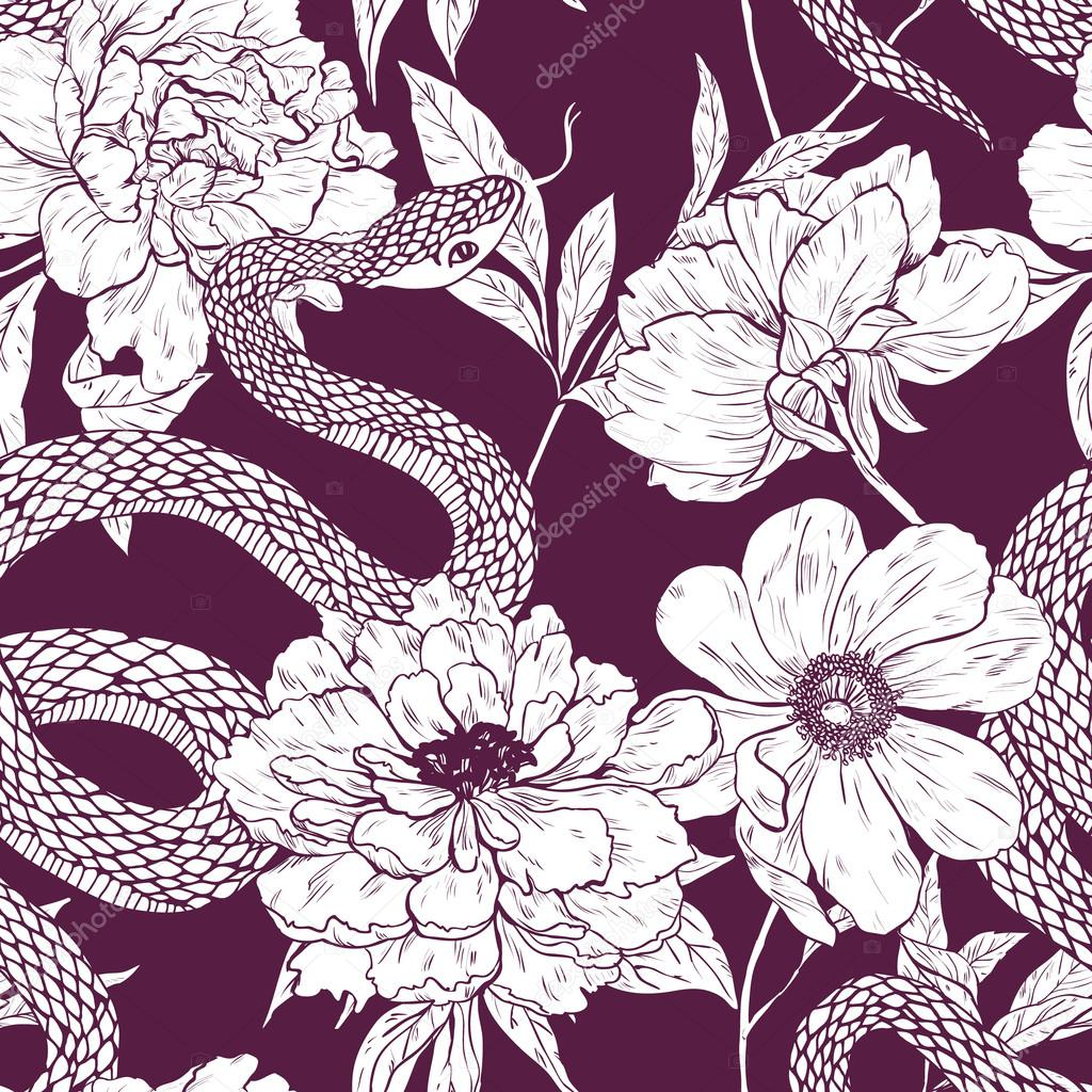 Pattern with snake and flowers.