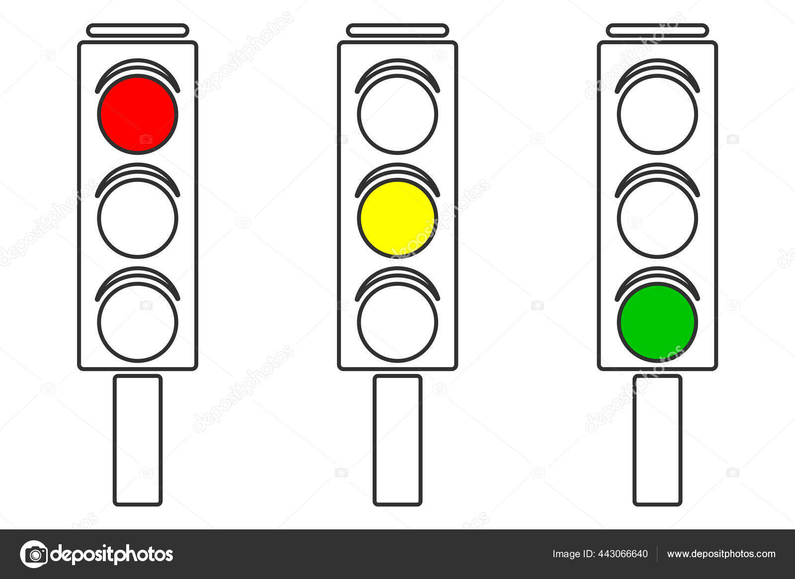 vector illustration traffic light three different variations different  signals red ⬇ vector image by © ziz | vector stock 443066640  depositphotos