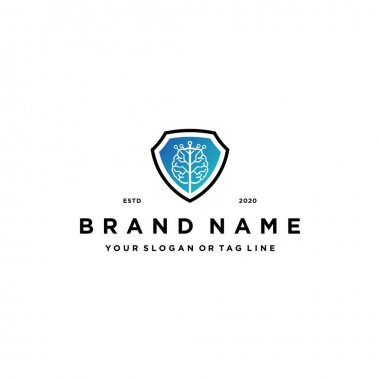 Brain tree tech and shield Logo design concept vector template icon