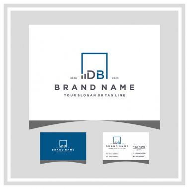 Letter DB square logo finance design and business card vector template icon