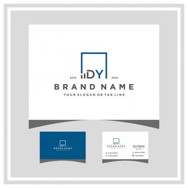 Letter DY square logo finance design and business card vector template icon