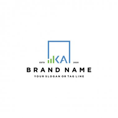 Letter KA square logo finance design vector template icon