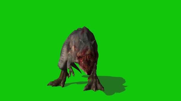 Tyranosaurus rex řve na zelené obrazovce