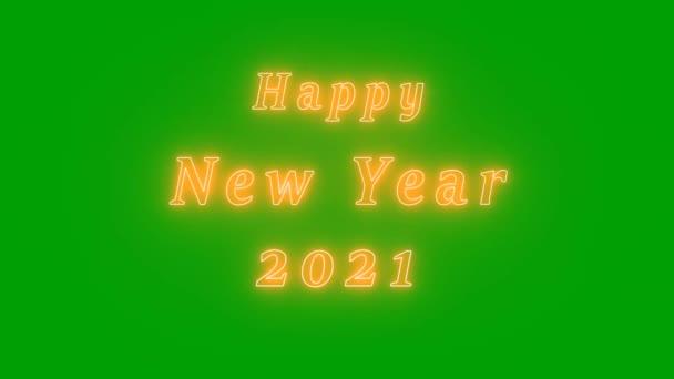 Šťastný nový rok 2021 Neon Text na zelené obrazovce