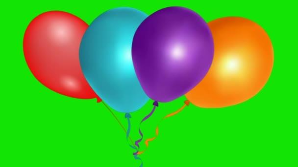 Balónky létající na zelené obrazovce