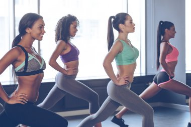 Beautiful young women exercising at gym