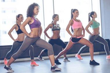 Young women exercising