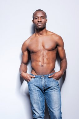 Handsome young shirtless African man