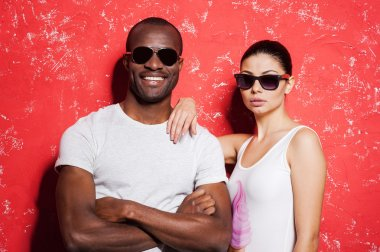 Mixed race couple in sunglasses