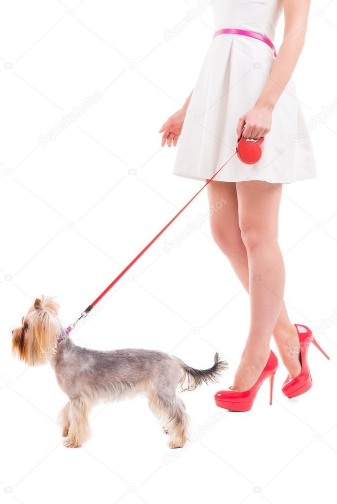 Woman walking with small dog