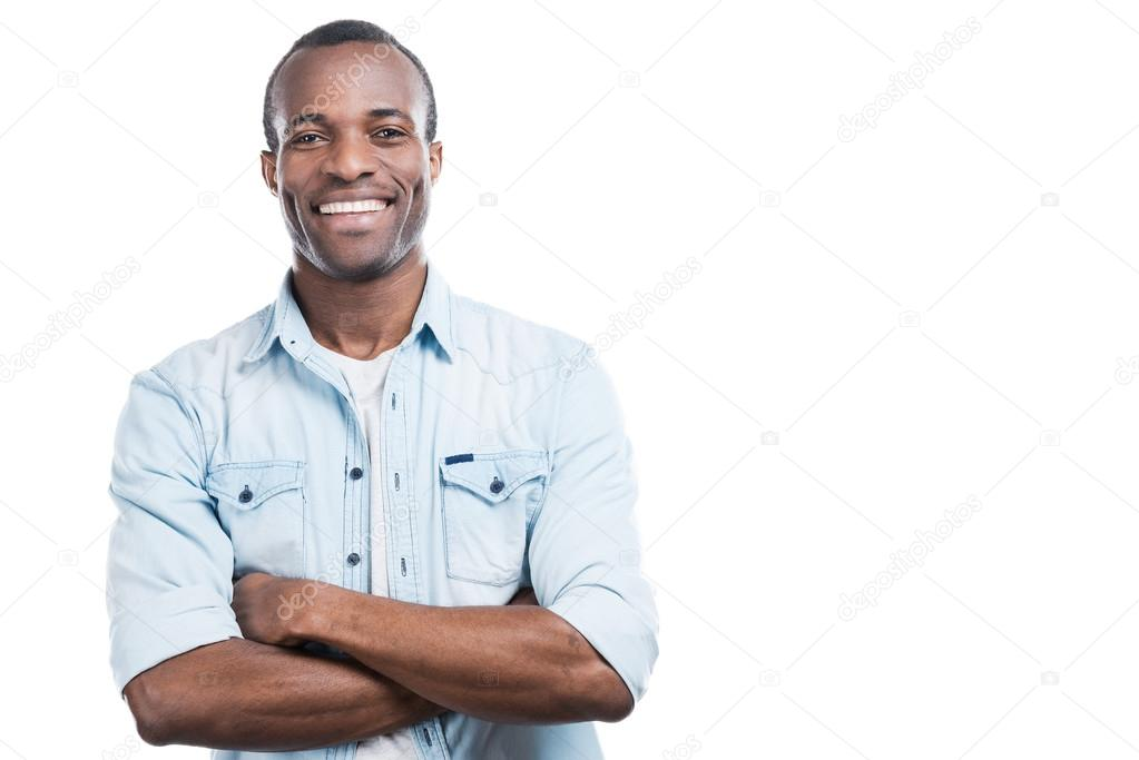 Black man keeping arms crossed